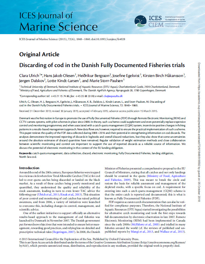 Discarding of cod in the Danish Fully Documented Fisheries trials