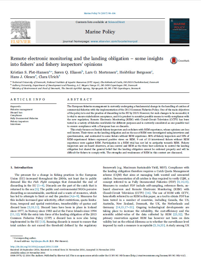 Remote electronic monitoring and the landing obligation - some insights into fishers' and fishery inspectors' opinions